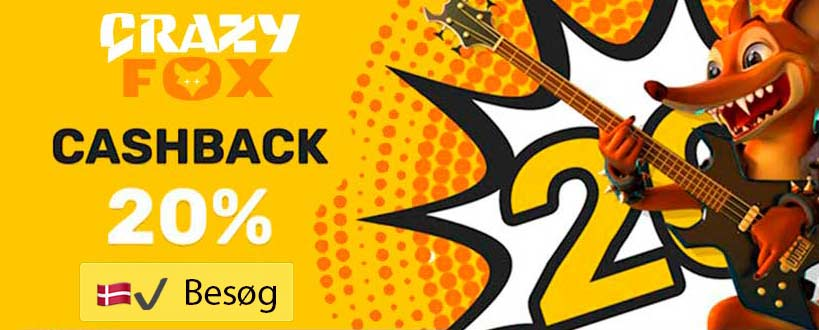 CrazyFox: Nyt MGA casino med 20% Cashback bonus