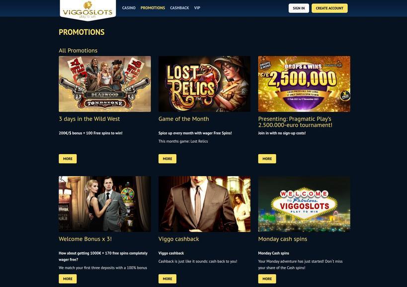 Viggoslots Casino bonusser